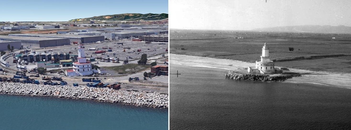Una perspectiva actual i un altre de fa uns quants anys de la platja de L'Hospitalet, amb el Far